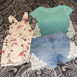 Overalls/Crochet Floral Lace Shorts Set